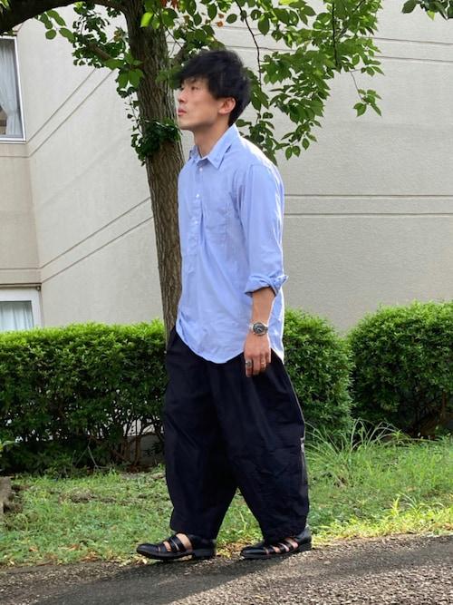 ゆうたさんの「エクストラファインコットンプルオーバーシャツ(長袖)(UNIQLO)」を使ったコーディネート